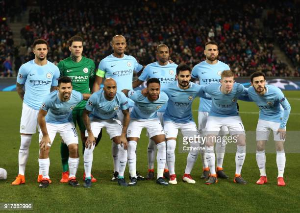 The Manchester City team line up prior to the UEFA Champions League Round of 16 First Leg match between FC Basel and Manchester City at St JakobPark...
