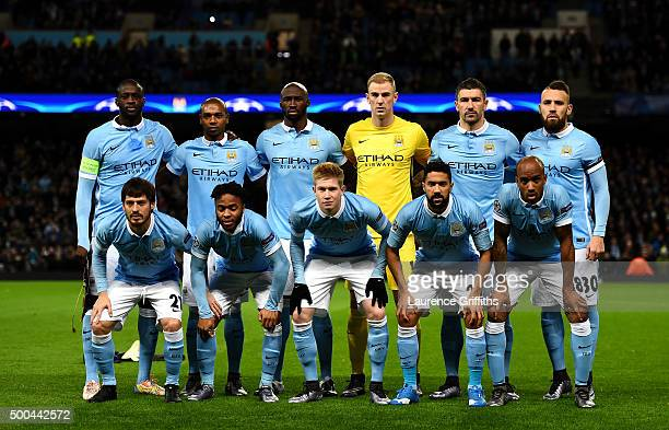 The Manchester City team pose for a group photo prior to the UEFA Champions League Group D match between Manchester City and Borussia Monchengladbach...