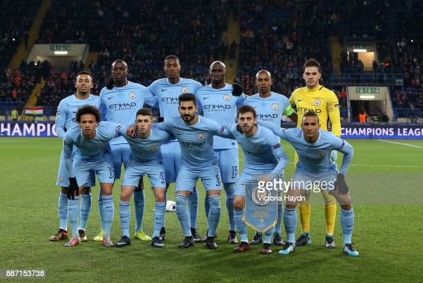 The Manchester City team pose for a photo prior to the UEFA Champions League group F match between Shakhtar Donetsk and Manchester City at Metalist...
