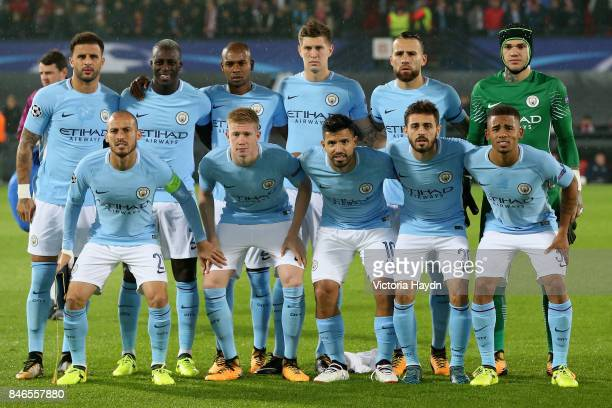 The Manchester City team pose for a team photo prior to the UEFA Champions League group F match between Feyenoord and Manchester City at Feijenoord...