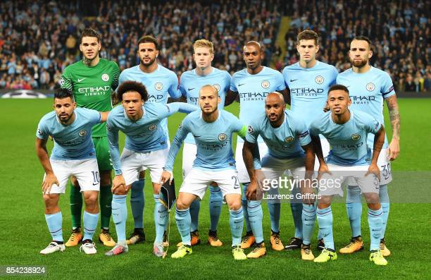 The Manchester City team pose for a team photo prior to the UEFA Champions League Group F match between Manchester City and Shakhtar Donetsk at...