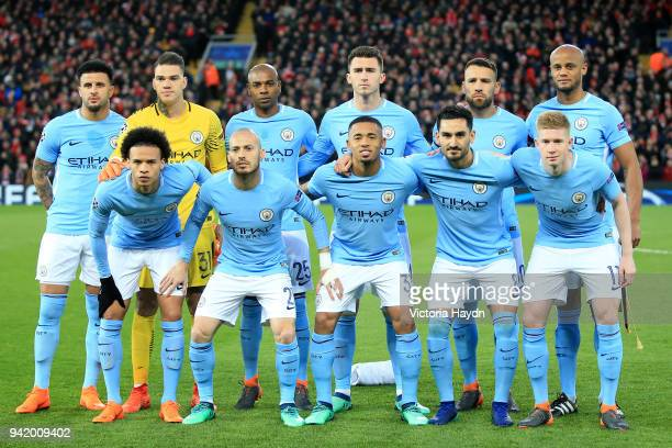 The Manchester City team pose for a team photo prior to the UEFA Champions League Quarter Final Leg One match between Liverpool and Manchester City...