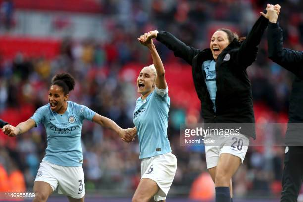 The Manchester City Women celebrate after winning the Women's FA Cup following their victory in the Women's FA Cup Final match between Manchester...