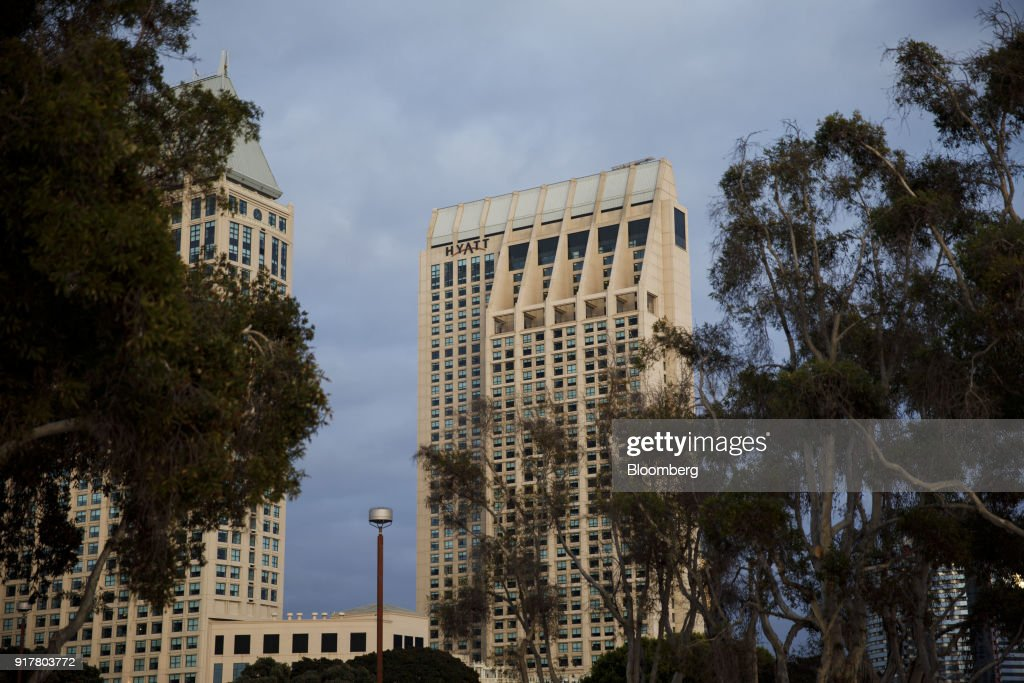 The Manchester Grand Hyatt Hotel stands in San Diego, California, U.S., on Sunday, Feb. 11, 2018. Hyatt Hotels Corp. is scheduled to release earnings figures on February 14. Photographer: Patrick T. Fallon/Bloomberg via Getty Images