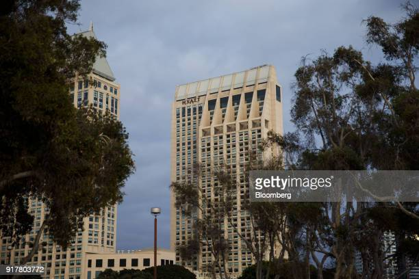 The Manchester Grand Hyatt Hotel stands in San Diego California US on Sunday Feb 11 2018 Hyatt Hotels Corp is scheduled to release earnings figures...
