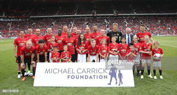 The Manchester United '08 XI line up ahead of the Michael Carrick Testimonial match between Manchester United and Michael Carrick AllStars at Old...