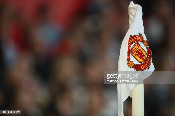 The Manchester United badge on a corner flag during the Premier League match between Manchester United and Leicester City at Old Trafford on August...