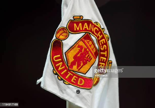 The Manchester United club badge on a corner flag during the Carabao Cup Quarter Final match between Manchester United and Colchester United at Old...