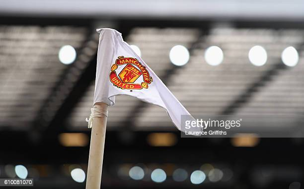 The Manchester United corner flag inside the stadium prior to kick off during the Premier League match between Manchester United and Leicester City...