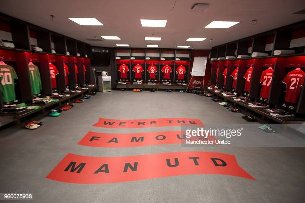 The Manchester United dressing room is laid out ahead of the Emirates FA Cup Final match between Manchester United and Chelsea at Wembley Stadium on...