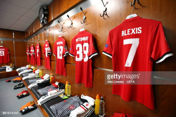 The Manchester United dressing room is seen prior to the UEFA Champions League Round of 16 Second Leg match between Manchester United and Sevilla FC...