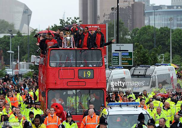 The Manchester United open top bus during the Manchester United Premier League Winners Parade at Old Trafford on May 30 2011 in Manchester United...