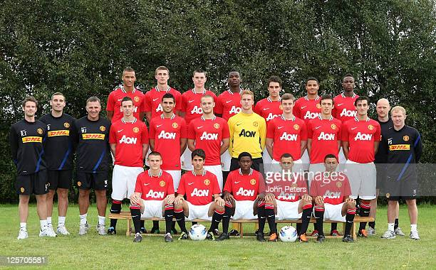 The Manchester United Reserve Team squad pose at the annual club photocall at Carrington Training Ground on September 16 2011 in Manchester England
