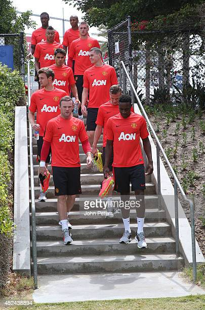 The Manchester United squad arrive at a first team training session as part of their preseason tour of the United States on July 20 2014 in Los...