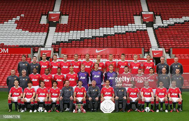 The Manchester United squad Back Row Dr Steve McNally Fitness Coach Tony Strudwick Dimitar Berbatov Jonny Evans John O'Shea Chris Smalling Rio...