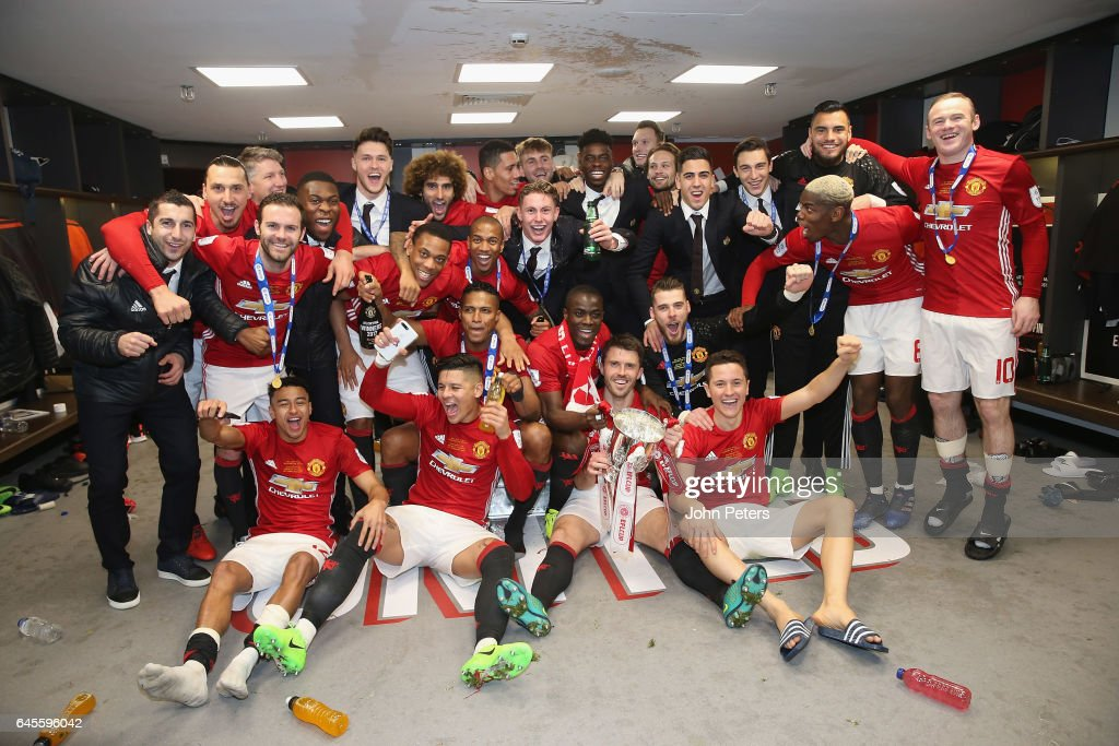 The Manchester United squad celebrates in the dressing room after the EFL Cup Final match between Manchester United and Southampton at Wembley Stadium on February 26, 2017 in London, England.