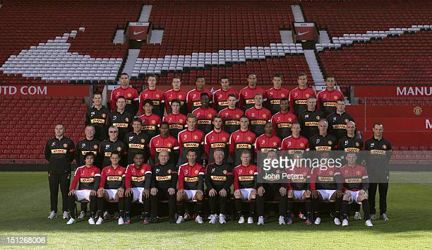 The Manchester United squad Chris Smalling Jonny Evans Phil Jones Bebe Robin van Persie Rio Ferdinand Michael Carrick Nemanja Vidic Federico Macheda...