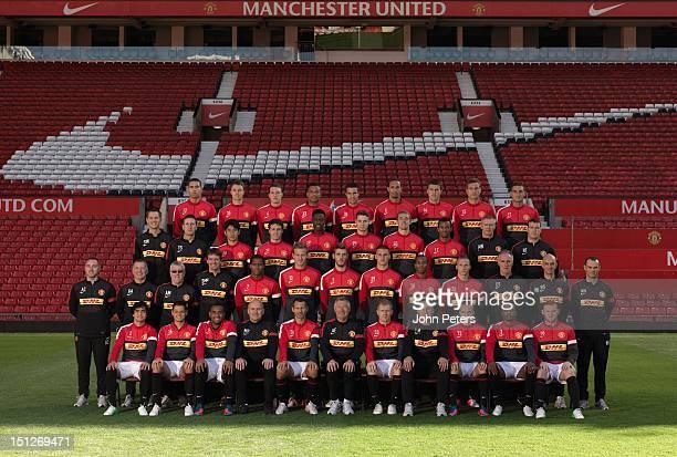 The Manchester United squad Chris Smalling Jonny Evans Phil Jones Bebe Robin van Persie Rio Ferdinand Michael Carrick Nemanja Vidic Federico Macheda...
