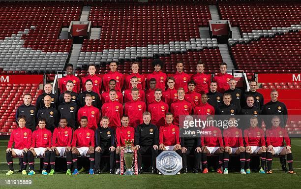 The Manchester United squad Danny Welbeck Phil Jones Chris Smalling Jonny Evans Marouane Fellaini Rio Ferdinand Michael Carrick Robin van Persie...