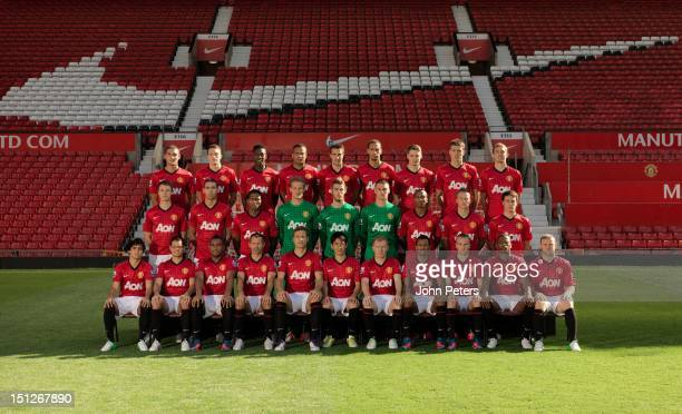 The Manchester United squad Federico Macheda Phil Jones Danny Welbeck Bebe Robin van Persie Rio Ferdinand Nick Powell Michael Carrick Darren Fletcher...