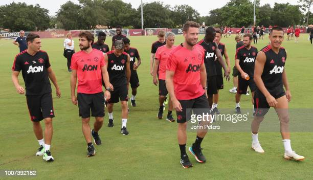 The Manchester United squad in action during a first team training session as part of their preseason tour of the USA at Barry University on July 29...