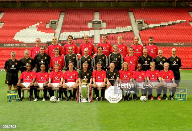 The Manchester United squad lines up for the 2003/04 team photocall Back row Nicky Butt Wes Brown Ruud van Nistelrooy Rio Ferdinand John O'Shea...