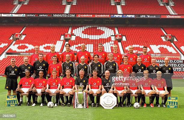 The Manchester United squad of Back row Nicky Butt Wes Brown Ruud van Nistelrooy Rio Ferdinand John O'Shea Darren Fletcher Mikael Silvestre Ryan...