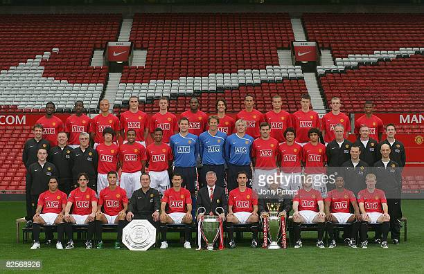 FEE*** The Manchester United squad pose during the club's official annual photoshoot at Old Trafford on August 27 2008 in Manchester England Back row...