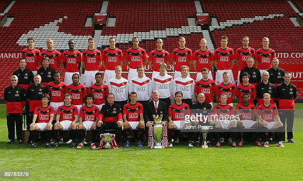 The Manchester United squad pose during the club's official annual photoshoot at Old Trafford on August 14 2009 in Manchester England Back row Craig...