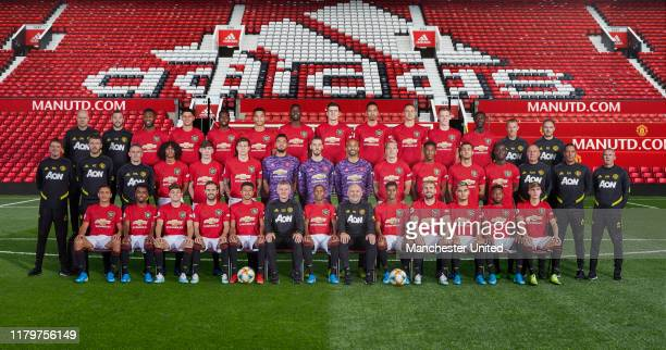 The Manchester United squad pose for the annual team photo at Old Trafford on August 15 2019 in Manchester England