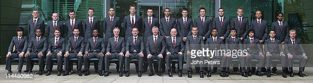 The Manchester United squad pose in the official UEFA Champions League Final suits designed by Sir Paul Smith ahead of the UEFA Champions League...