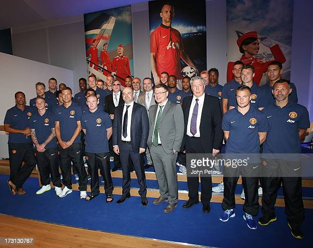 The Manchester United squad pose with CEO of Aeroflot Vitaly Saveliev and representatives from Aeroflot after the press conference to announce...