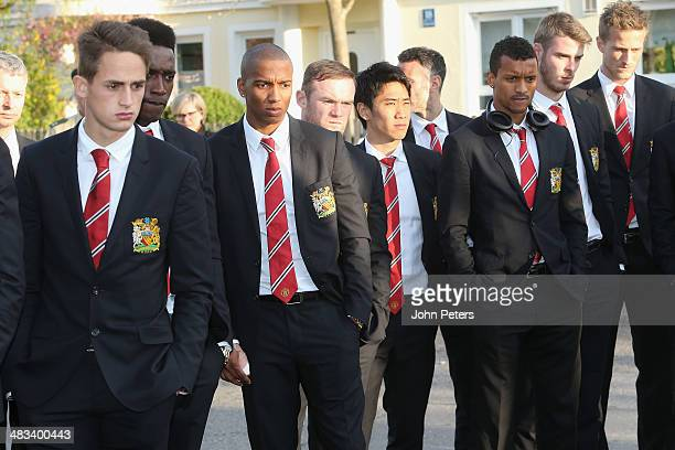 The Manchester United squad visit the memorial to the victims of the Munich Air Disaster in 1958 on April 8 2014 in Munich Germany