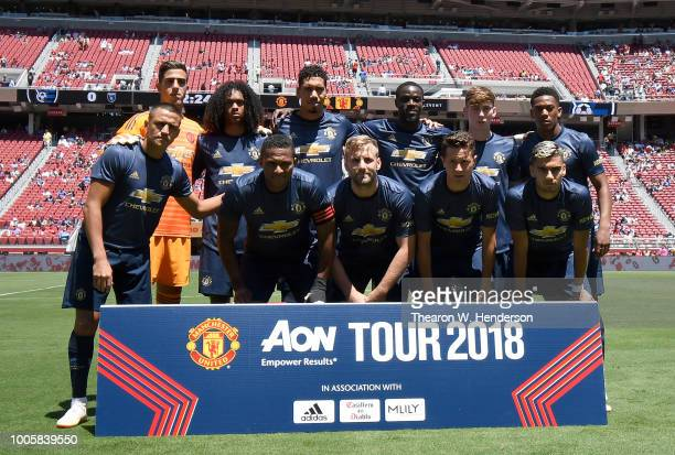 The Manchester United starting lineup poses together prior to the start of their exhibition game against the San Jose Earthquakes at Levi's Stadium...