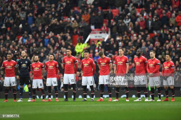 The Manchester United starting XI pause for a minute silence in comemmoration of the 1958 Munich Air Disaster in the 60th anniversary year of the...