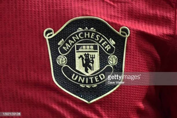 The Manchester United team badge during the UEFA Europa League match between Club Brugge and Manchester United at Jan Breydel Stadium on February 20...