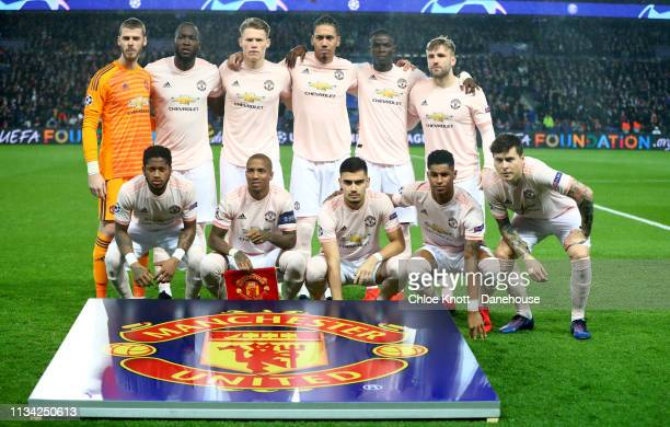 The Manchester United team group photo ahead of the UEFA Champions League Round of 16 Second Leg match between Paris SaintGermain and Manchester...