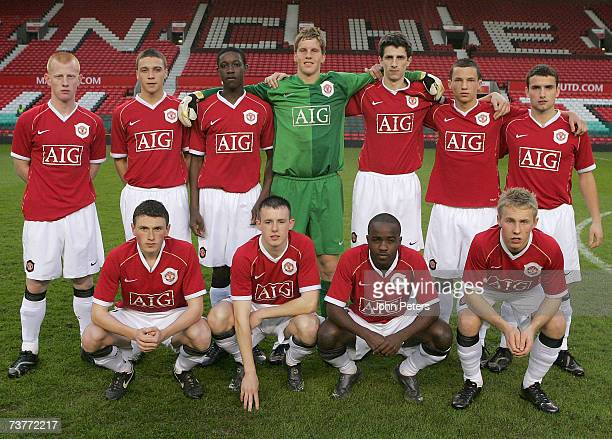 The Manchester United team line up ahead of the FA Youth Cup semifinal second leg match between Manchester United Under18s and Arsenal Under18s at...