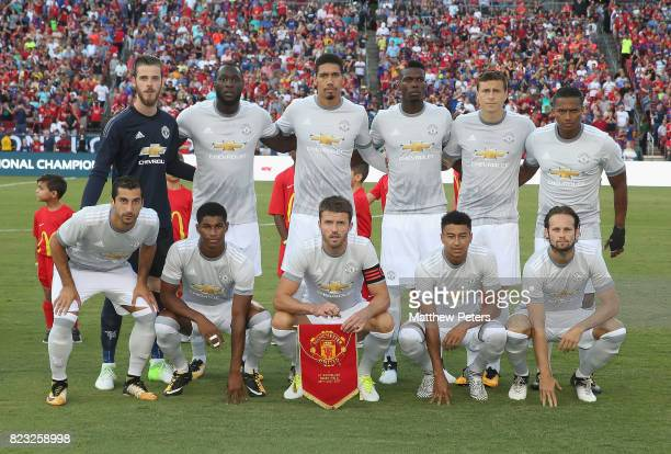 The Manchester United team line up ahead of the International Champions Cup 2017 preseason friendly match between Manchester United and Barcelona at...