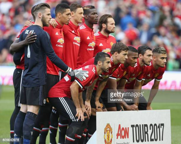 The Manchester United team line up ahead of the International Champions Cup preseason friendly match between Manchester United and Sampdoria at the...