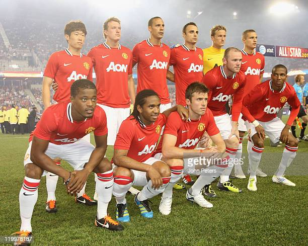 The Manchester United team line up ahead of the MLS All Star match between MLS All Stars and Manchester United at Red Bull Arena on July 27 2011 in...