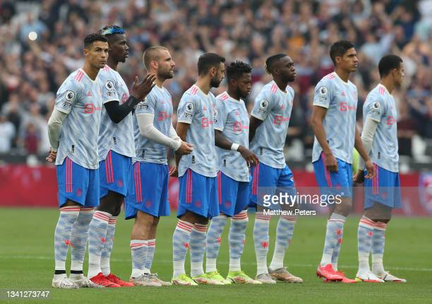 The Manchester United team line up ahead of the Premier League match between West Ham United and Manchester United at London Stadium on September 19,...