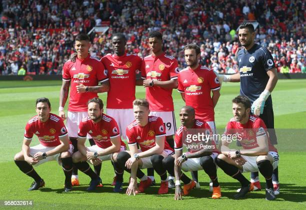 The Manchester United team line up ahead of the Premier League match between Manchester United and Watford at Old Trafford on May 13 2018 in...