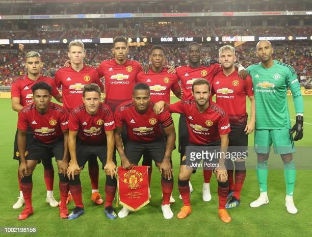 The Manchester United team line up ahead of the preseason friendly match between Manchester United and Club America at University of Phoenix Stadium...