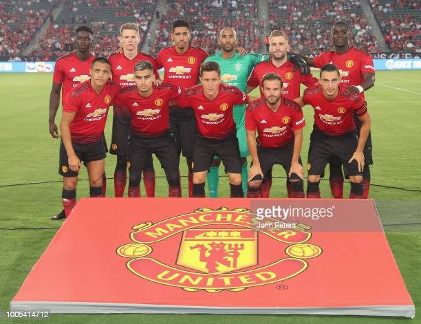The Manchester United team line up ahead of the preseason friendly match between Manchester United and AC Milan at Rose Bowl on July 25 2018 in...