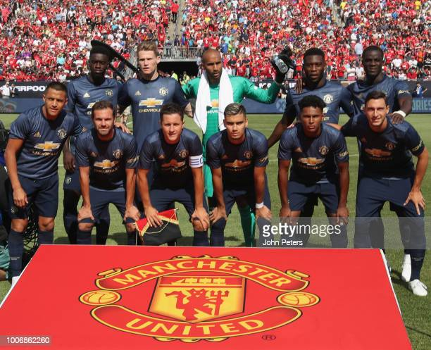 The Manchester United team line up ahead of the preseason friendly match between Manchester United and Liverpool at Michigan Stadium on July 28 2018...