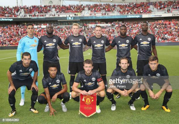 The Manchester United team line up ahead of the preseason friendly match between Real Salt Lake and Manchester United at Rio Tinto Stadium on July 17...