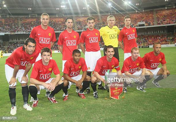 The Manchester United team line up ahead of the preseason friendly match between Manchester United and Portsmouth during their preseason tour to...