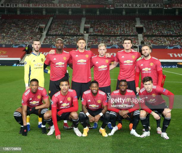 The Manchester United team line up ahead of the UEFA Champions League Group H stage match between Manchester United and RB Leipzig at Old Trafford on...