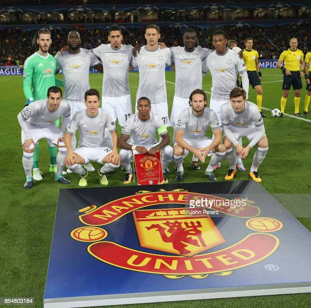 The Manchester United team line up ahead of the UEFA Champions League group A match between CSKA Moskva and Manchester United at WEB Arena on...